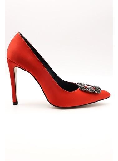 La scada Mr9980 Kırmızı Saten Kadın Abıye Ayakkabı Kırmızı
